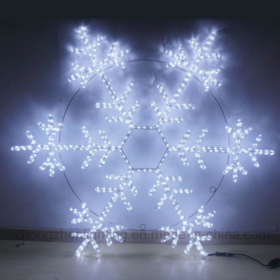 rope light wire frame motif decoration outdoor christmas snowflake landscape lighting