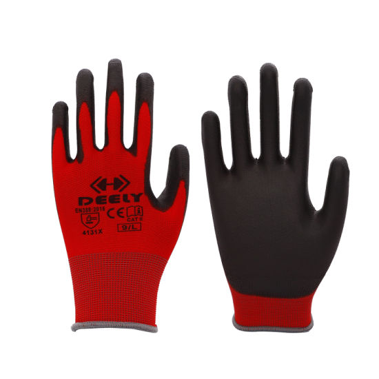 13 Gauge Red Polyester/Nylon Shell with Black PU Palm Coated Gloves