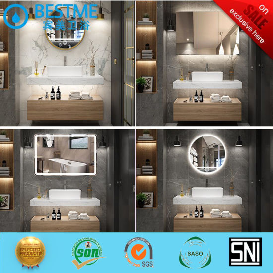 China Customized Bathroom Vanity Marble Basin With Cabinet