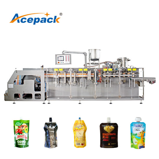 600ml Automatic Fruit Juice/Jam/Water/Beverage/Liquid Filling Packing Plastic Spout Pouch Packaging Machine