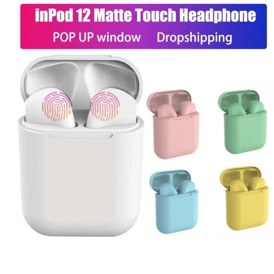 Inpods 12 Super Bass Earbuds Siri HiFi Wireless Macaron Color Tws Earphone