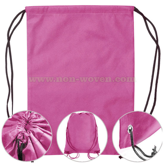 Eco-Friendly Non Woven Backpack Drawstring Bag 32# Pink