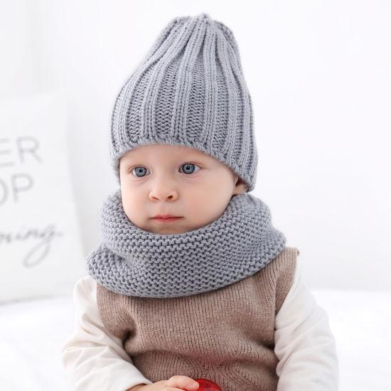 2019 Hot Selling Winter Neckerchief Children's Cotton Muffler Baby Bib Warm Soft Boys Scarves & Cap Girls Scarf & Hat