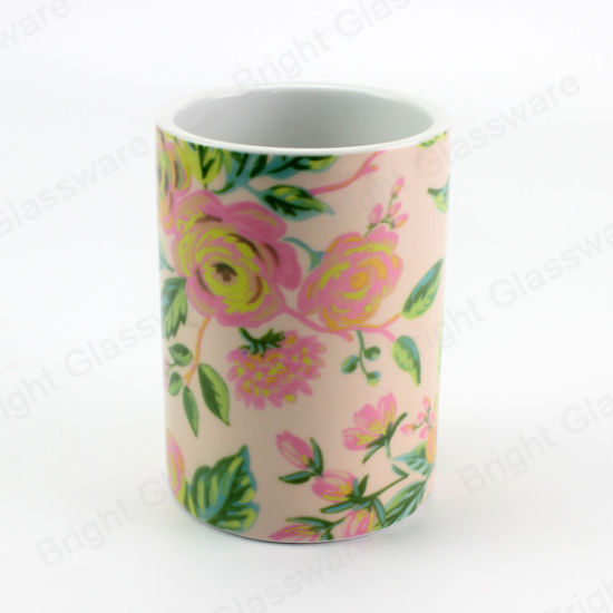 New Decoration Luxury Decal Flower Design Ceramic Scented Marble Candle Jar