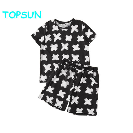 Children Print Top and Slant Pocket Shorts Kids Pajamas Bamboo Kids Pyjamas pictures & photos