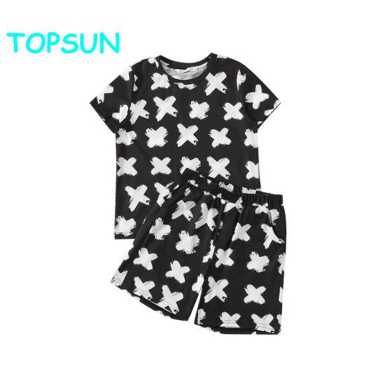Children Print Top and Slant Pocket Shorts Kids Pajamas Bamboo Kids Pyjamas