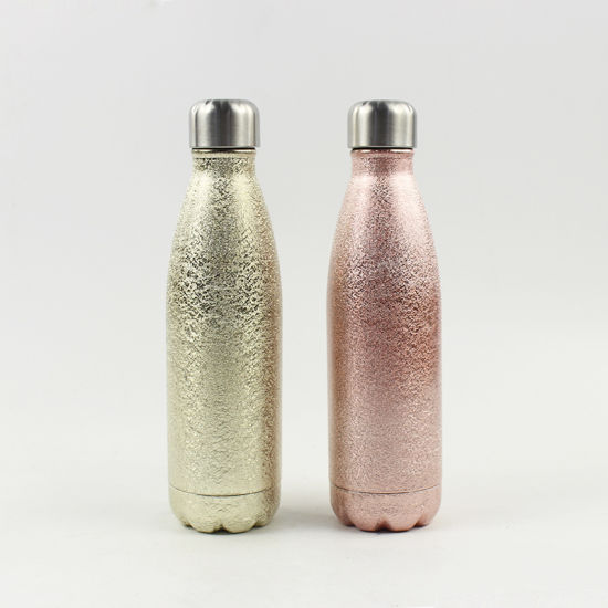 BPA Free Custom Double Wall Vacuum Flask Stainless Steel Glitter Cola Shaped Water Bottle