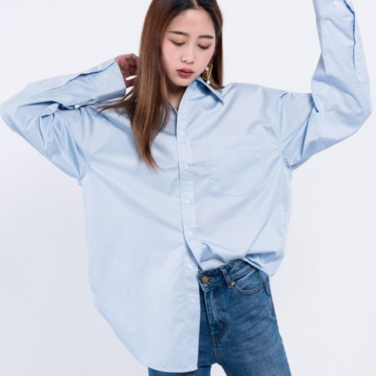 2018 Latest Shirt Designs for Women Long Sleeve Loose Enough Spread Collar Chiffon 100% Cotton Fiber Content pictures & photos