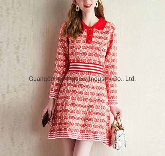 Fashion Ladies Polo Shirt Collar Sports Wear Knitting Apparel Sweater Stripe Dress Clothing