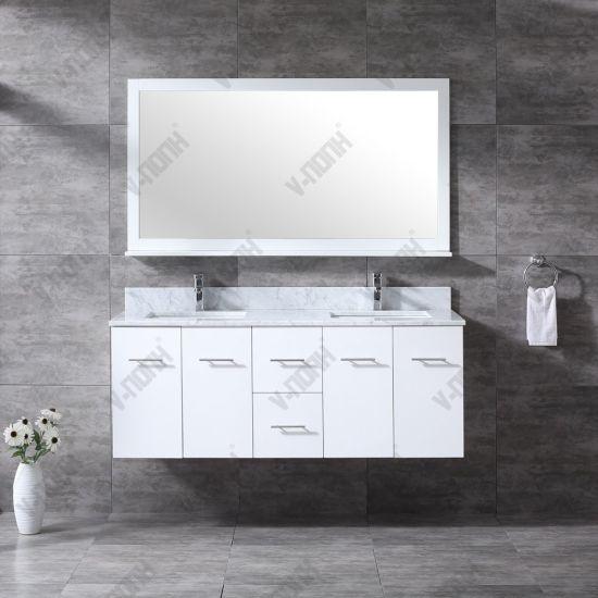 China 60inch Glossy White Wall Mounted Bathroom Vanities Cabinets China Large Storage Hangzhou