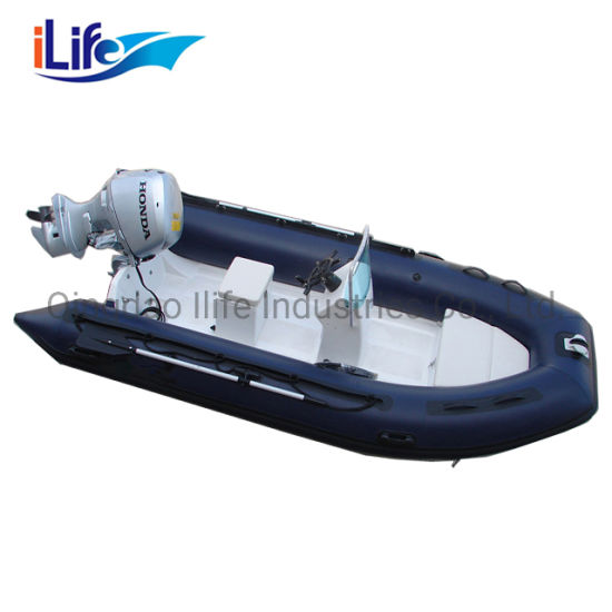 Ilife Wholesale 6 Person Fiberglass Hull Inflatable Boat Rib 390b with Outboard Motor