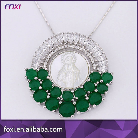 China Red Stone Design 18k Gold Plated Cz Jewelry Pendant Necklace