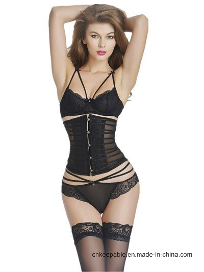 Women′s See Through Halter Corset Lingerie with Garter and Thong Set pictures & photos