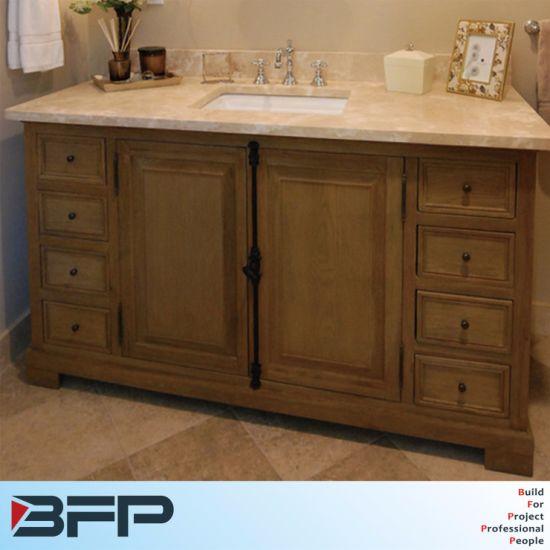 European Style With Single Bowl Solid Wood Bathroom Vanity