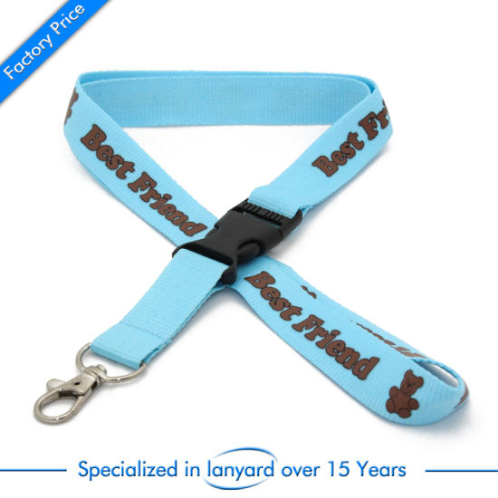 Customized Flat Polyester Lanyard Gift Pouch Rivet Silicone Double Drive pictures & photos
