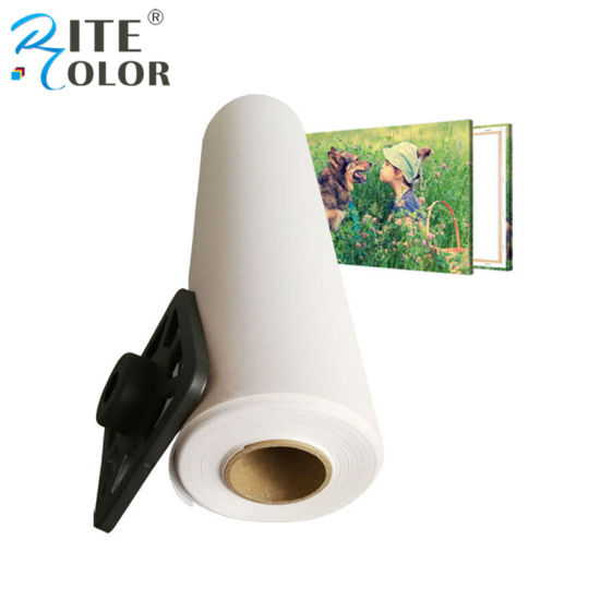 320GSM Wide Format Aqueous Inkjet Printing Polyester Artist Canvas Roll pictures & photos