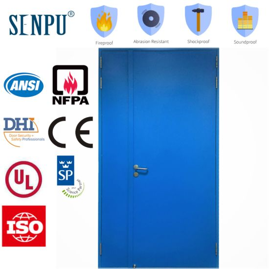 Unequal Leaf Steel Fireproof Door with Optional Vision Panel