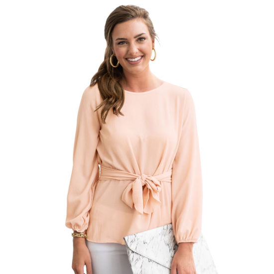 Loose Puff Sleeve Chiffon Shirt Blouse for Women with Tie