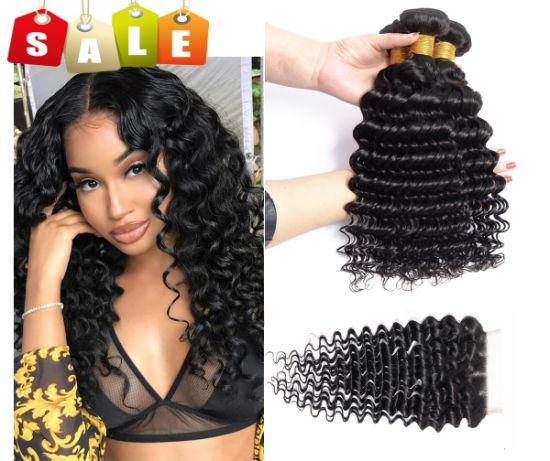 Deep Wave 3 Bundles with Closure Brazilian Unprocessed Deep Curly pictures & photos