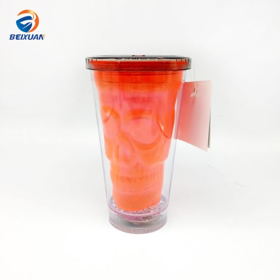 Wholesale 480ml Skull Shape Reusable Eco Plastic Double Wall Water Cup with Straw and Lid LED Light