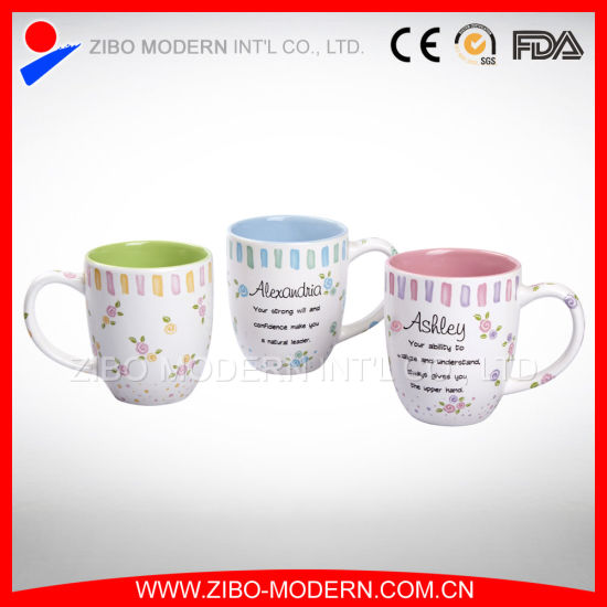 Factory Supply Good Quality 14oz Coated Inner Color Porcelain Mug pictures & photos