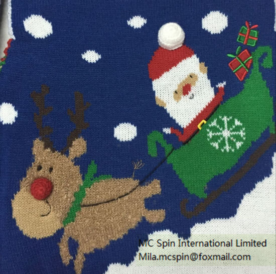 Kids Sweater Xmas Santa Intarsia Jumper for Boys pictures & photos