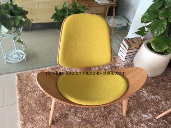 Fabric Upholstery Designer Replica Wegner Wood Veneer Shell Chair