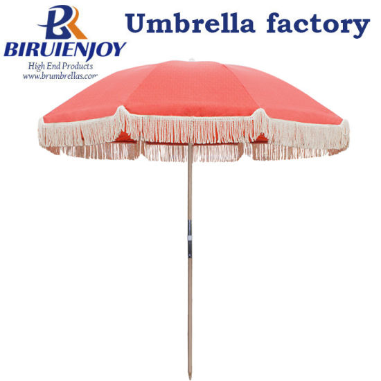 Custom 200cm Portable Wooden Beach Sun Umbrella with Cotton Tassel Fringe UV 50+ for Outdoor/Seaside/Sands
