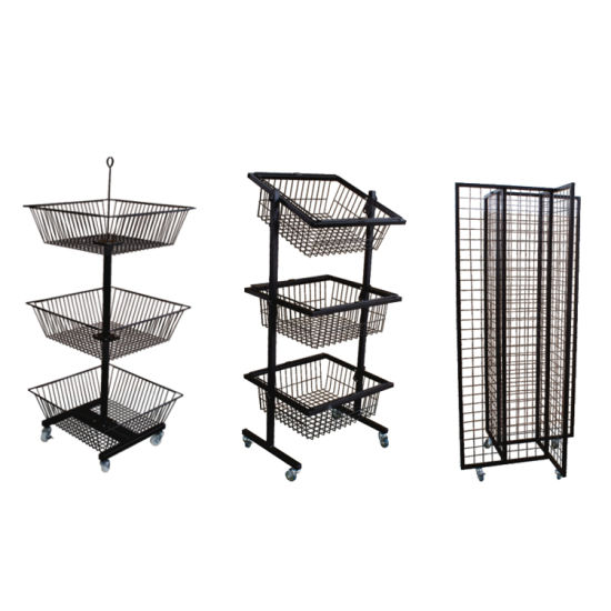 Supermarket Retail Store Grocery Store Cheap 3 Layers Metallic Wire Basket Display Rack pictures & photos