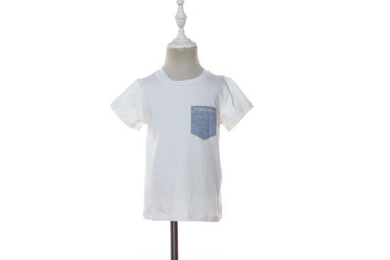 Custom Round Neck White Kid T Shirt with Pocket for Boys