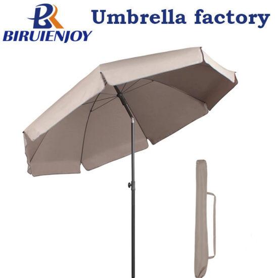 Premium Big Windproof Metal Pole Tiltable Outdoor Beach Patio Sun Umbrella with Gray Polyester