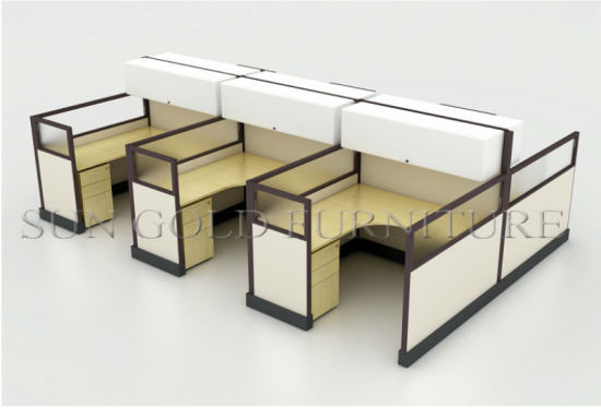 Modular Office Workstation, Wooden Cubicle Table With Overhead Cabinet  (sz Ws140)
