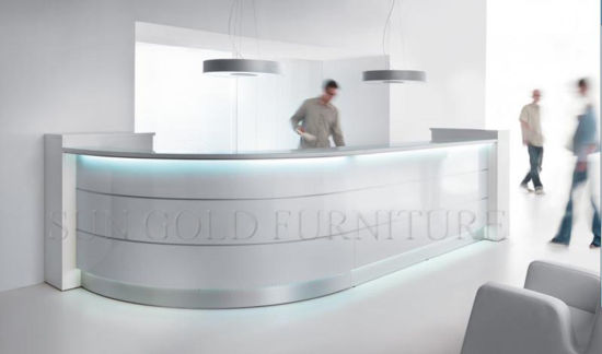China Modern Curved High Glossy White Salon Reception Desk Sz Rt018