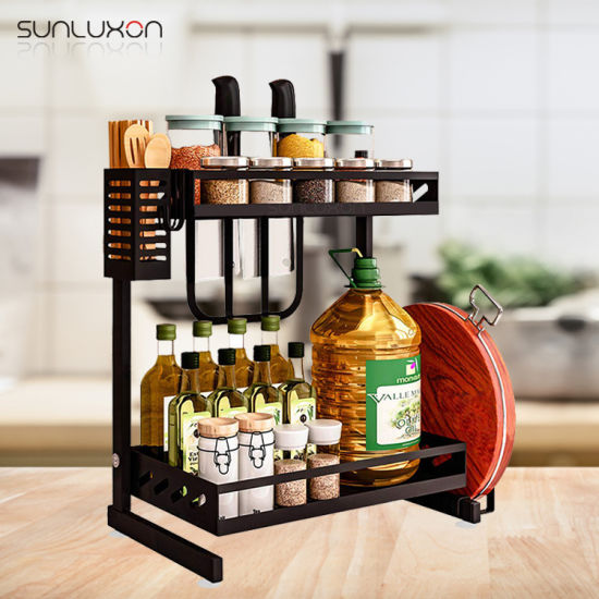 Metal with Knife & Chopping Board Storage Organizer Shelf Bottle Jars Holder Cabinet Spice Rack pictures & photos