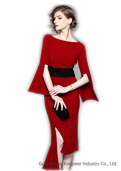 Ladies New Design Women Cotton Casual Wedding Party Evening Prom 2019 Sexy Autumn Red Cocktai Clothes Wear Fashion Apparel Blouse Boycon Dress
