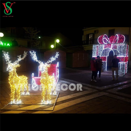 China Lighted Outdoor 3d Large Gift Box Lights For Christmas