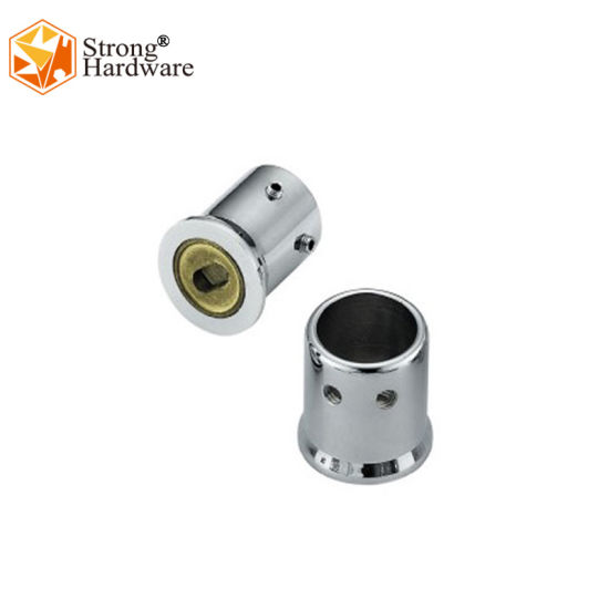 Wall to Pipe SS304/Brass 19/25mm Dia Bathroom Pipe Connector for Door Glass