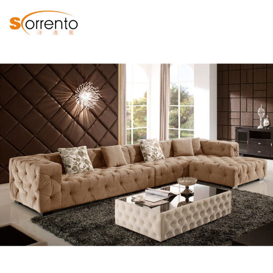 Latest Living Room Leisure Sofa Set American/ Middle East Style Velvet  Couch Corner Button Trufted Sofa