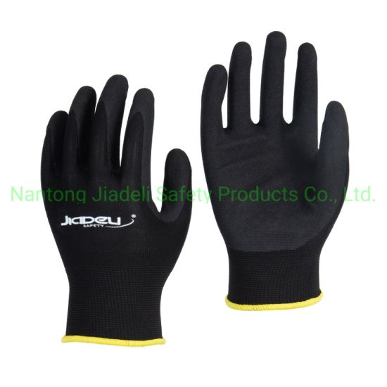 Water Repellent Glove. Sandy Nitrile Dipping Polyester Glove
