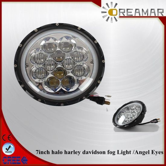 60W 7inch for Halo Harley Davidson Fog Light with Angel Eyes