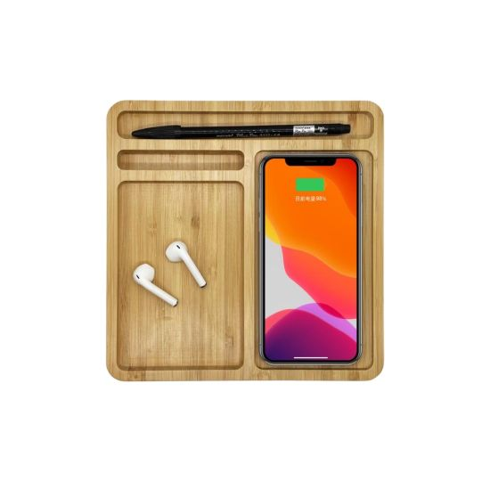 New Multifunction Bamboo Wireless Charger Bamboo Wireless Docking Station Environment-Friendly Wireless Charging Tray
