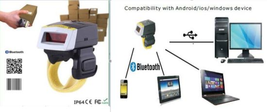 China Fs02 Mini Ring 2D Bluetooth Barcode Scanner for Android Tablet