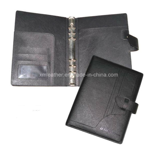 Black A5 Faux Leather Planner Notebook Cover with Ring Binder