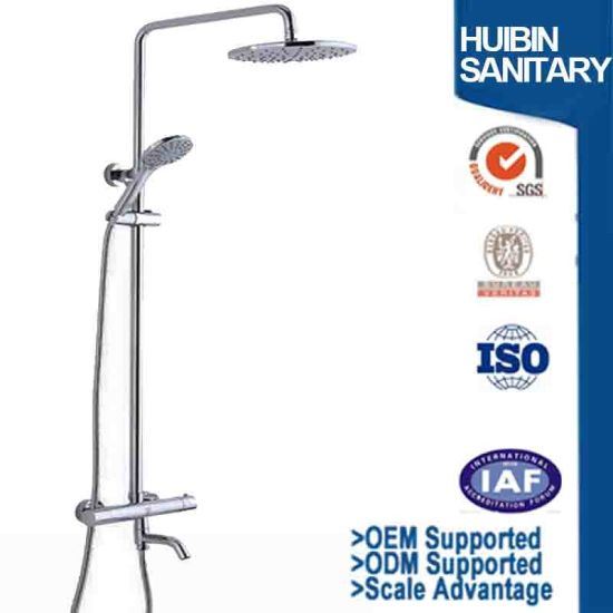 Thermostatic Rain Shower System Mixer Faucet Sets Triple Function Chrome  With Adjustable Slide Bar Shower Head