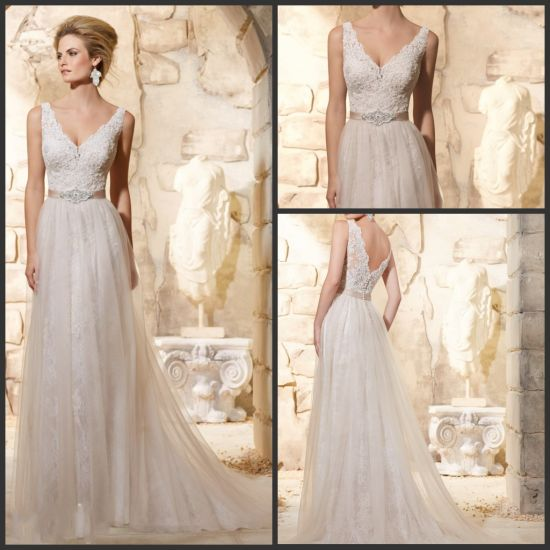 V-Neck Lace Tulle Bridal Wedding Gowns Simple Beach Wedding Dresses Mrl2780