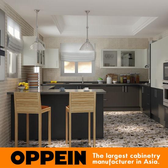 Kenya High Pressure Laminate Black Kitchen Cabinet (OP15-HPL05) pictures & photos