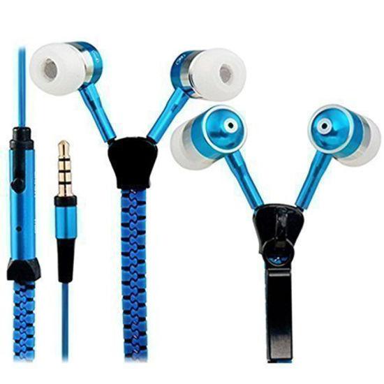 Bulit-in Microphone Noise Cancelling Metal Plug Handfree Stereo in-Ear Zipper Earphone