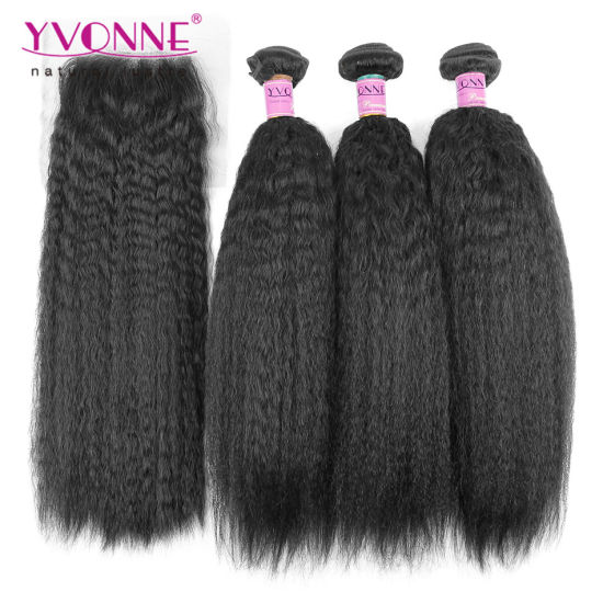Kinky Straight Brazilian Hair Bundles with Lace Closure pictures & photos