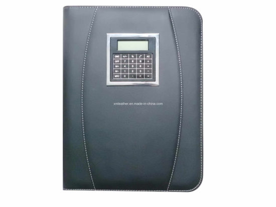 Business Leather Zippered Portfolios with Window Calculator pictures & photos