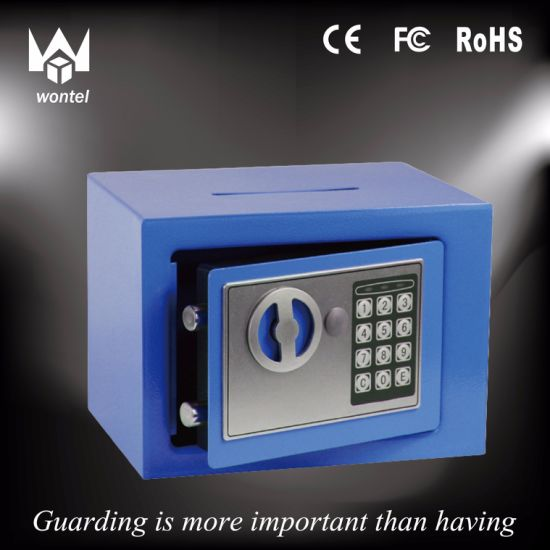 Blue Color 17et Laser Cutting Money /Coin Slot Safe Box with Digital Lock